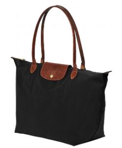 Le pliage noire aux anses marrons en cuir de Longchamp